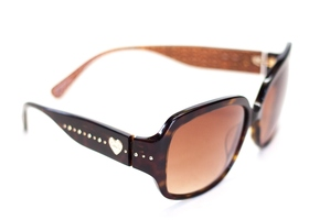 COACH RARE Dark Brown Scarlet Heart Sunglasses