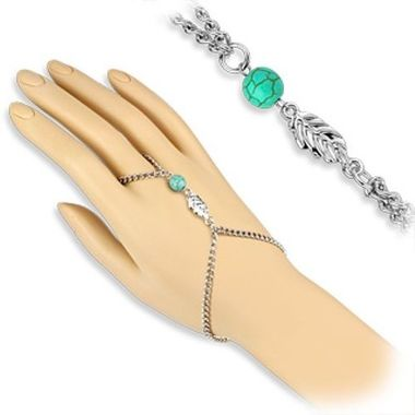 Turquoise Bead and Leaf Charm Slave Chain Bracelets with Finger Ring