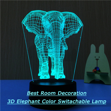 So Beautiful 3D Room Decoration Night Lamp 3D Elephant Table Lamps 3 Color Chang