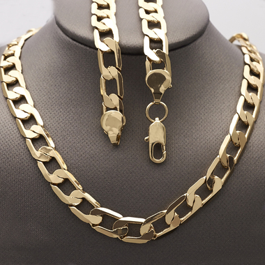 Thick 8mm Cuban Link Chain 28 Inches Long Gold Filled