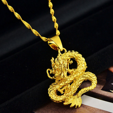 Popular Dragon Design Gold Plated Pendant+Necklace