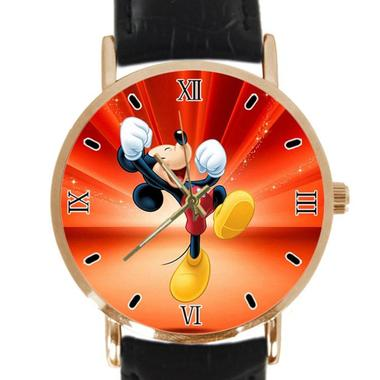 Mickey Mouse Pictures Custom Classic Leather Strap Wrist Quatrz Watch