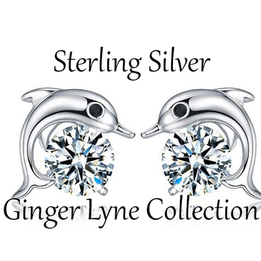 Cute Small Sterling SIlver Dolphin Stud Earrings - Ginger Lyne Collection