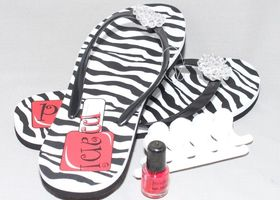 S M L Zebra Beaded Pedicure Flip Flop Set