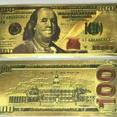 Replica 24k Gold foil pressed on polycarbonate $100 replicas of U.S. New Currenc