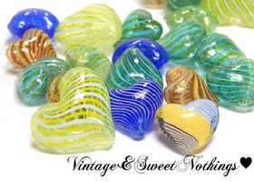 Mixed Handmade Heart Blown Glass Focals