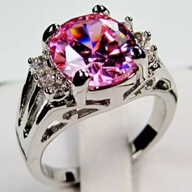 Womens Vintage White Gold Filled Cz Round Ring A73