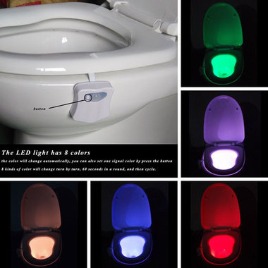 LED Toilet Nightlight Motion Activated Light 8 Colors