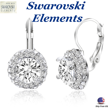 4.20 CTTW Halo Studded Swarovski Elements Leverback Earring