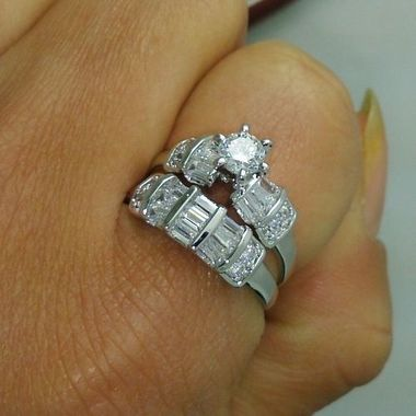 Womens Vintage White Gold Filled Cz Round Ring A45