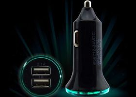 Universal LED Light Bullet Dual USB 2 Port Car Charger