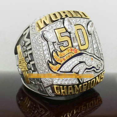 Gold Plated NFL 2015 Denver Mustang Champion Ring