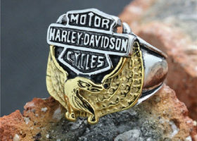 Men's Harley Eagle/Bar/Shield 316L Stainless Steel Ring