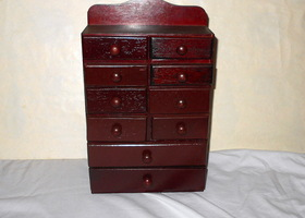 Vintage Small Wooden Apothecary Chest w/ 10 Drawers