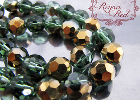 Hunter Green/Gold Faceted Round Beads - FULL strand