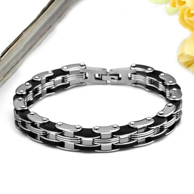 Fashion Jewelry Punk Black Titanium Stainless Steel Link Chain Motorcycle Bracel