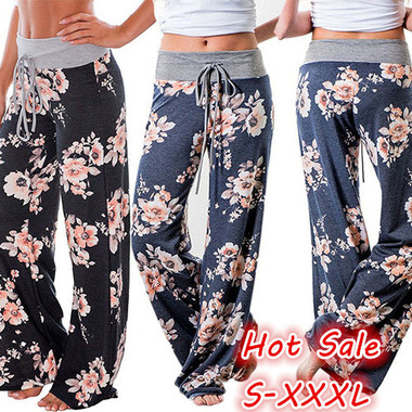Plus Size Women Fashion Loose High Waist Long Trousers Patchwork Casual Cotton P