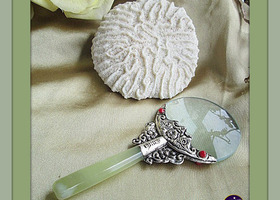 Amazing Chinese Tibet Silver Jade Magnifying Glass