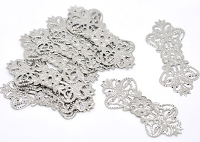 10 Silver Tone Filigree Flower Wraps Connectors