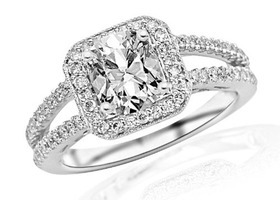 Sz5/6/7/8/9/10 Cushion Halo Split-Shank Engagement Ring