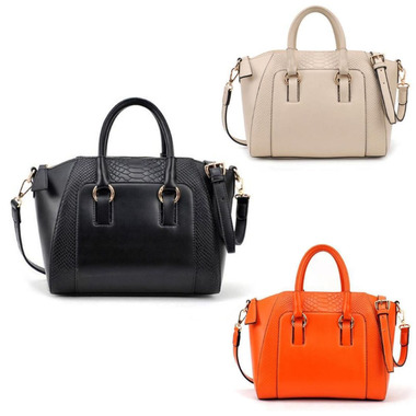 Outing Need Women Handbag Tote Faux Leather Ladies Messenger Bag Orange/Black