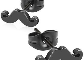 Black Stainless Steel Mustache Earrings