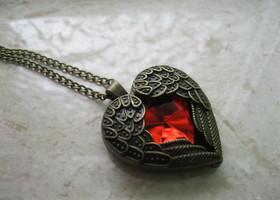 Red Heart/Angel Wings Necklace
