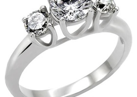 Stainless Steel Engagement 3 Stone Anniversary Ring