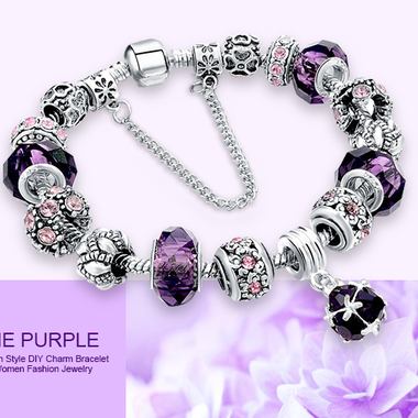 European Style DIY Charm Bracelet With Crystal Glass Beads