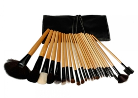 24Pc Makeup Brush Set With Black Bag Pro Cosmetic