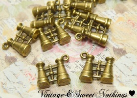 10+ Antique Bronze Binocular Charms
