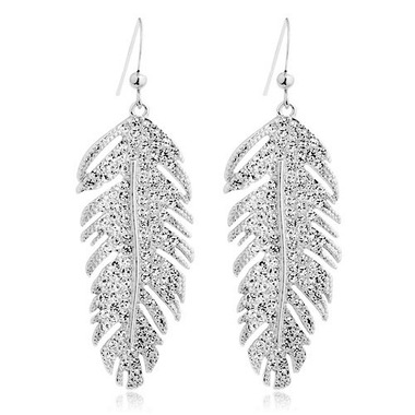 Swarovski® and Gold Plated Feather Drop Earrings