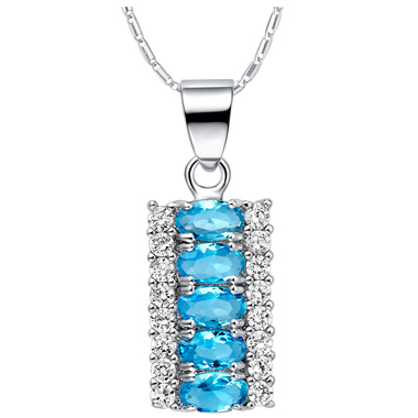 Blue Topaz Stone Colored Statment Necklace