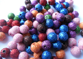 *100 10mm Mixed Color Stardust Glitter Beads