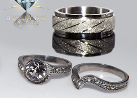 His & Hers 3 pcs 2.25 Ct Round Cut Stainless Steel Set