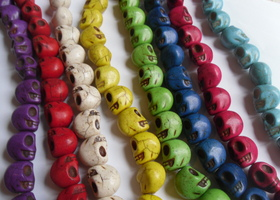 *20 Loose Mixed Color Skulls 18mm