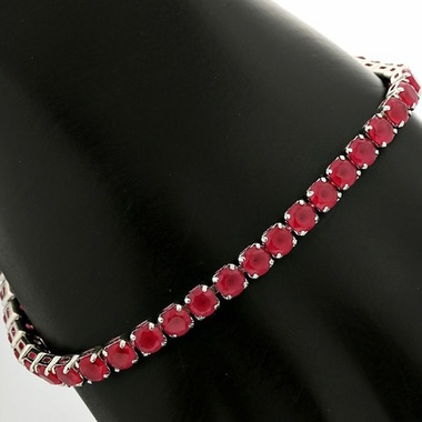 6.45ctw 14k White Gold Filled Beautifully Created Ruby Tennis Bracelet Bglam453