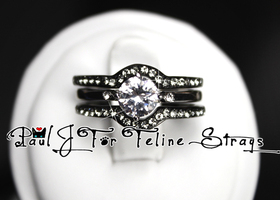 3-Ring AAA Grade CZ Black IP Diamond-Cut Set