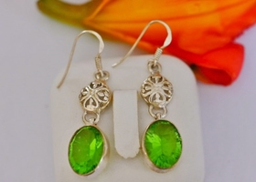 Sterling Silver~Natural Green Quartz Earrings