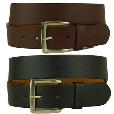 2 pack: Mens Solid Leather Belts