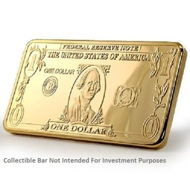 New 1 OZ Gold Clad $1   Collectors   Bar