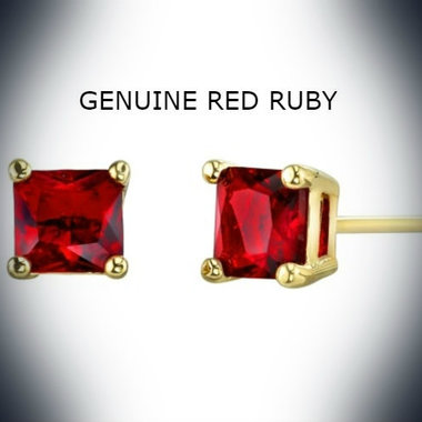 18kt Gold Semi Precious Ruby Stone Earrings