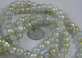 "_16"" Strand Clear with Gold Drawbench Crackle Rounds"