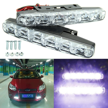 New Arrival 2 pcs LED 12V Car Light Daytime Driving Running Light Front Fog Head