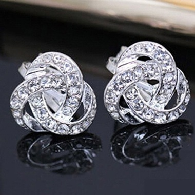 Silver Plated Elegant Stud Earrings