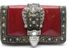 Rhinestone Red or Brown Buckle Wallet