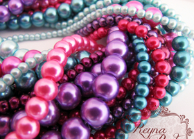 Harlequin Glass Pearl Beads Mix - 15 Strands