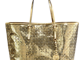 Michael Kors Gold Metallic Medium Travel Tote