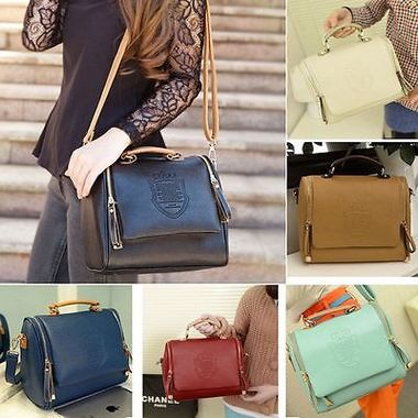 Women PU Leather Handbag Shoulder Tote Crossbody Purse Messenger Black/Blue/Beig