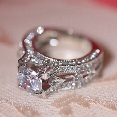 18K White Gold Plated CZ Ring